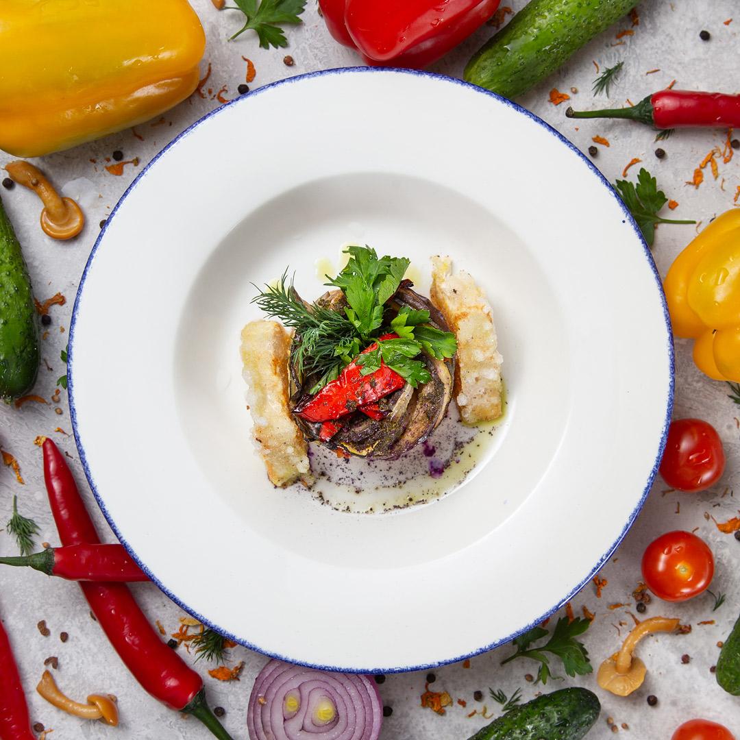 Тиан из овощей с жареным тофу